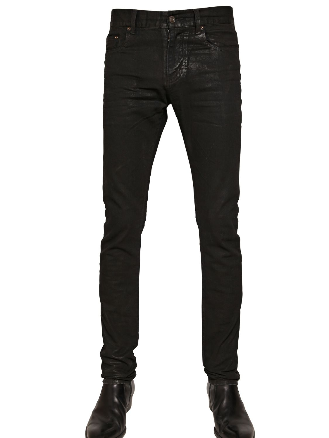 ff33aabfd08 Saint Laurent 15.5cm Wax Coated Stretch Denim Jeans in Black for Men ...