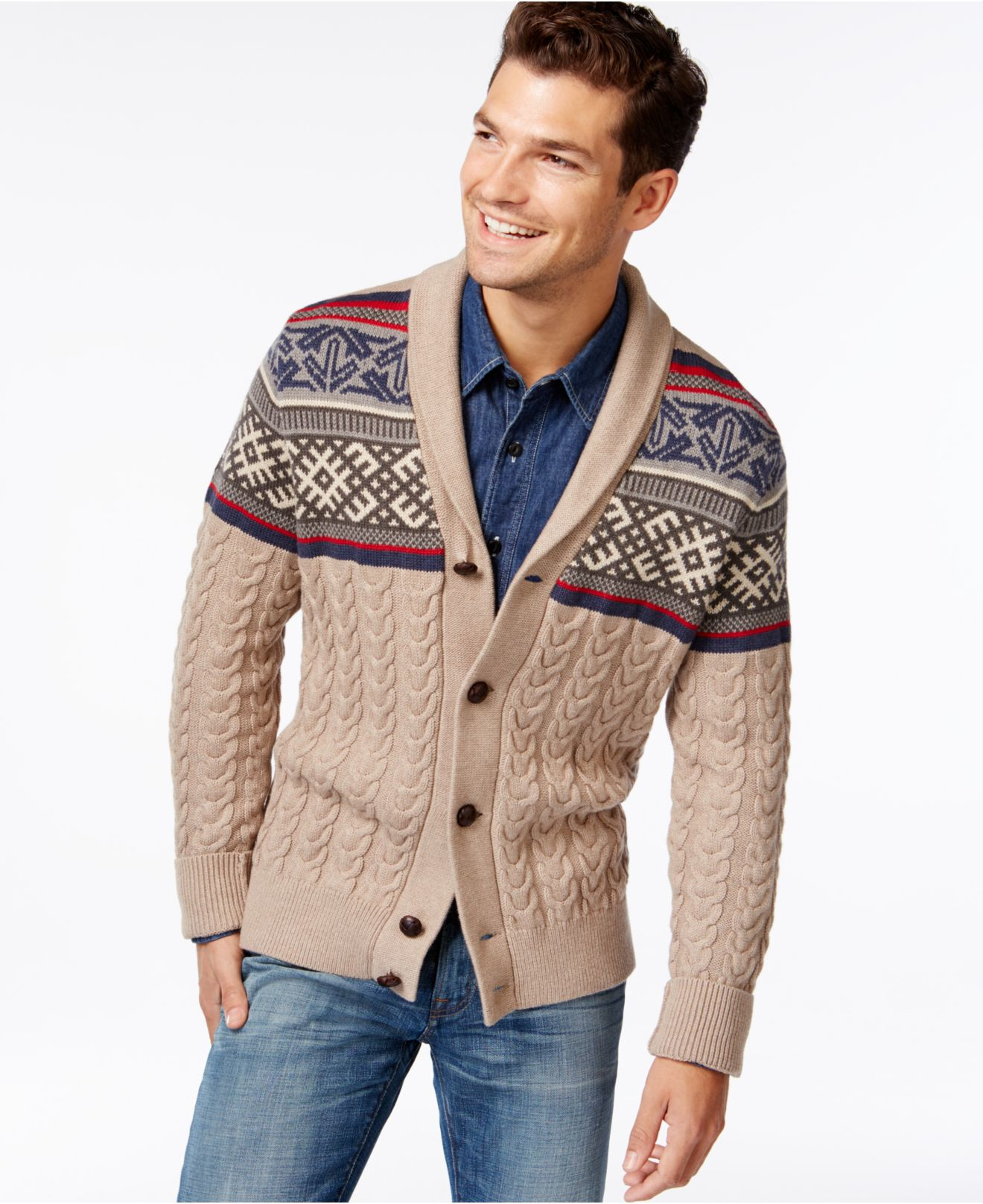 Lyst Tommy Hilfiger Rogers Cable Knit Shawl Collar Cardigan In
