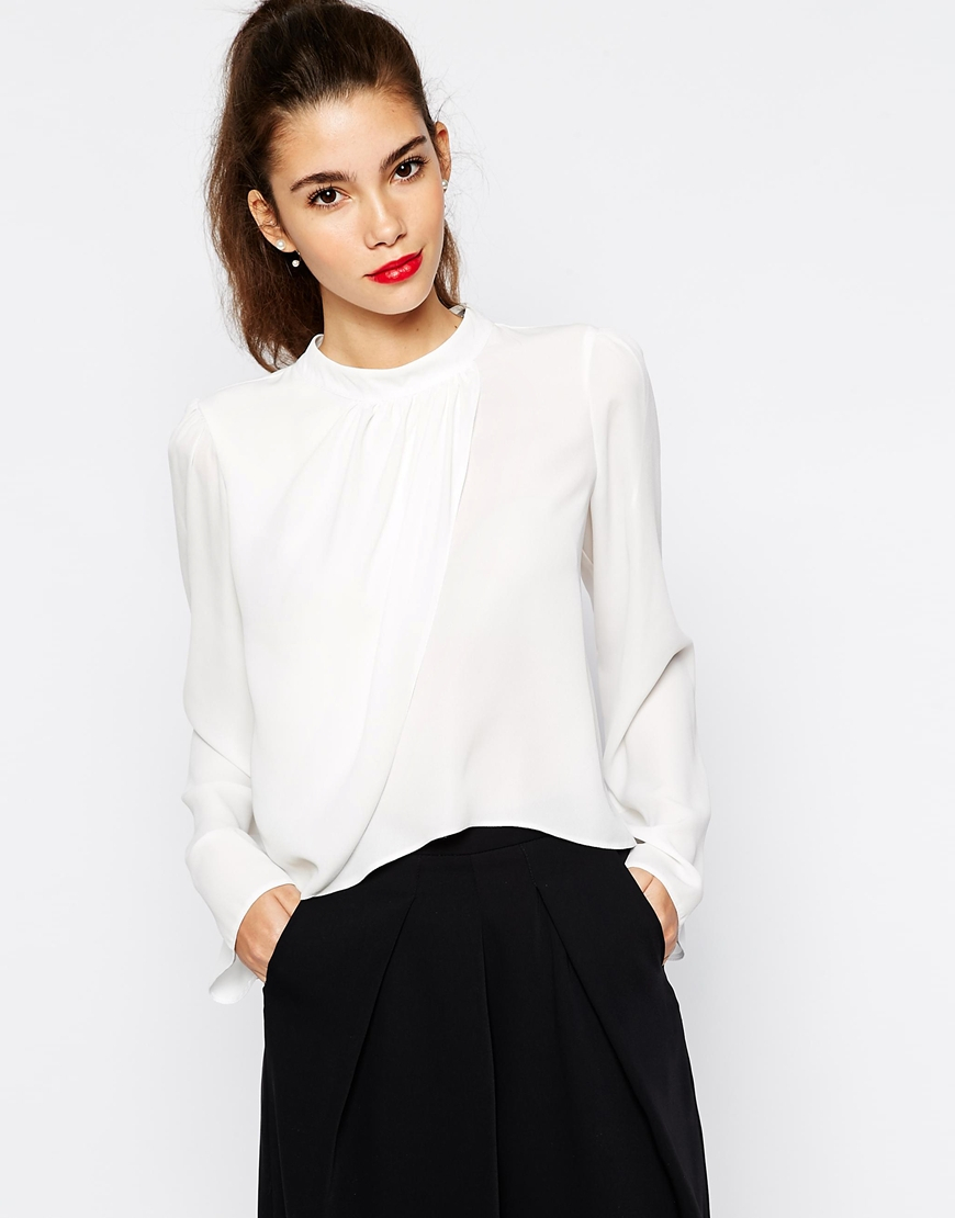 Lyst Love High Neck Wrap Front Blouse In White