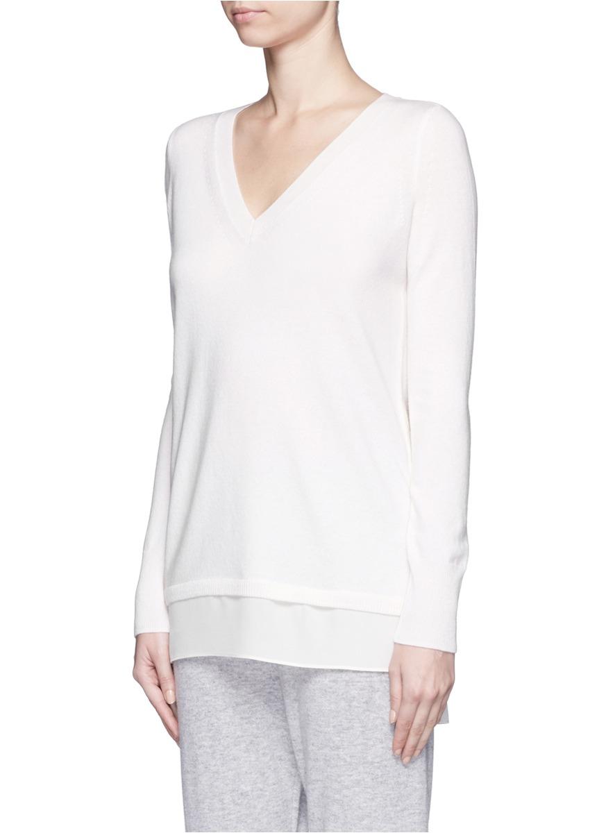 Vince Silk Trim Wool-cashmere Sweater in White | Lyst