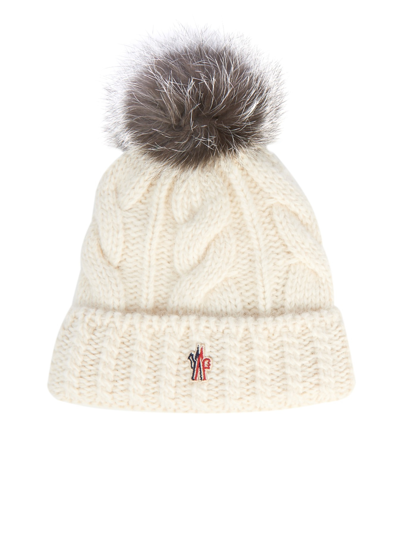 Lyst - Moncler Grenoble Mink-fur Pompom Knitted Beanie Hat in White 84551fef3fbf
