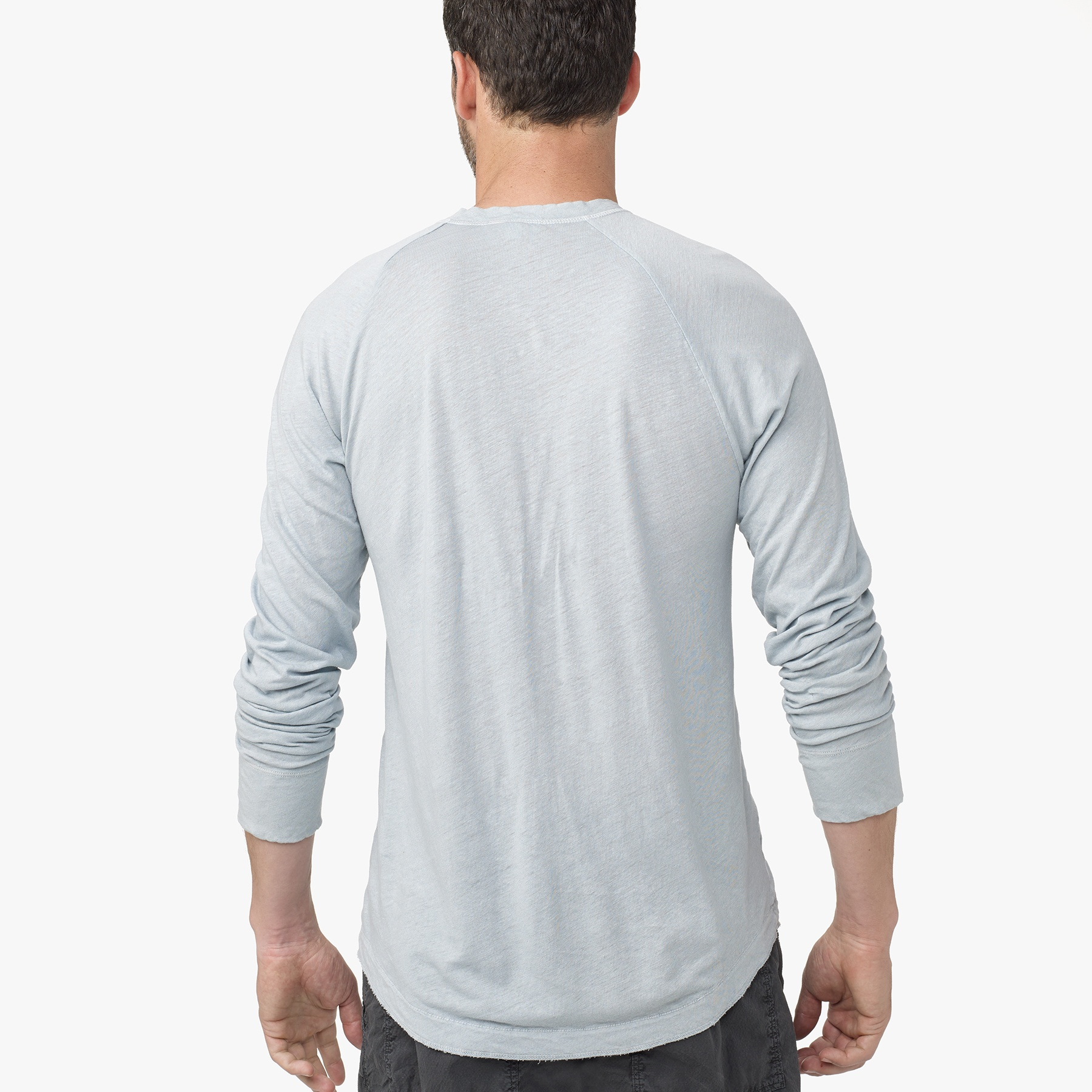 Lyst james perse linen cotton raglan henley in gray for men for James perse henley shirt