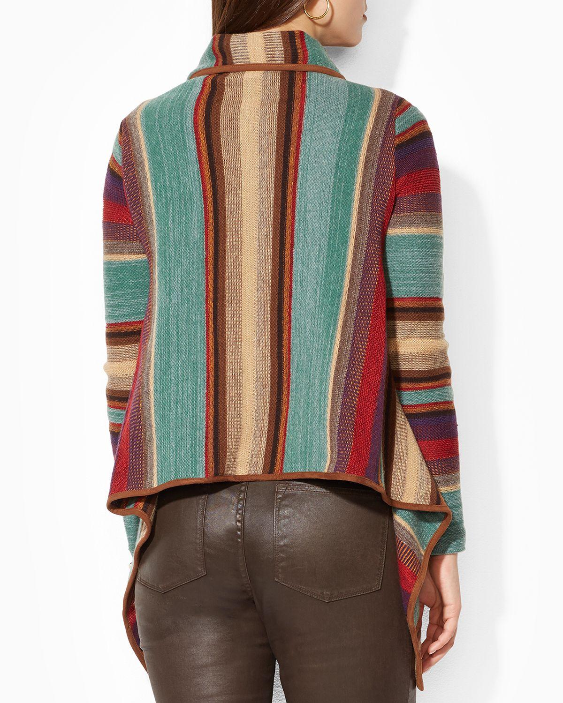 Ralph Lauren Lauren Multi Stripe Drape Cardigan