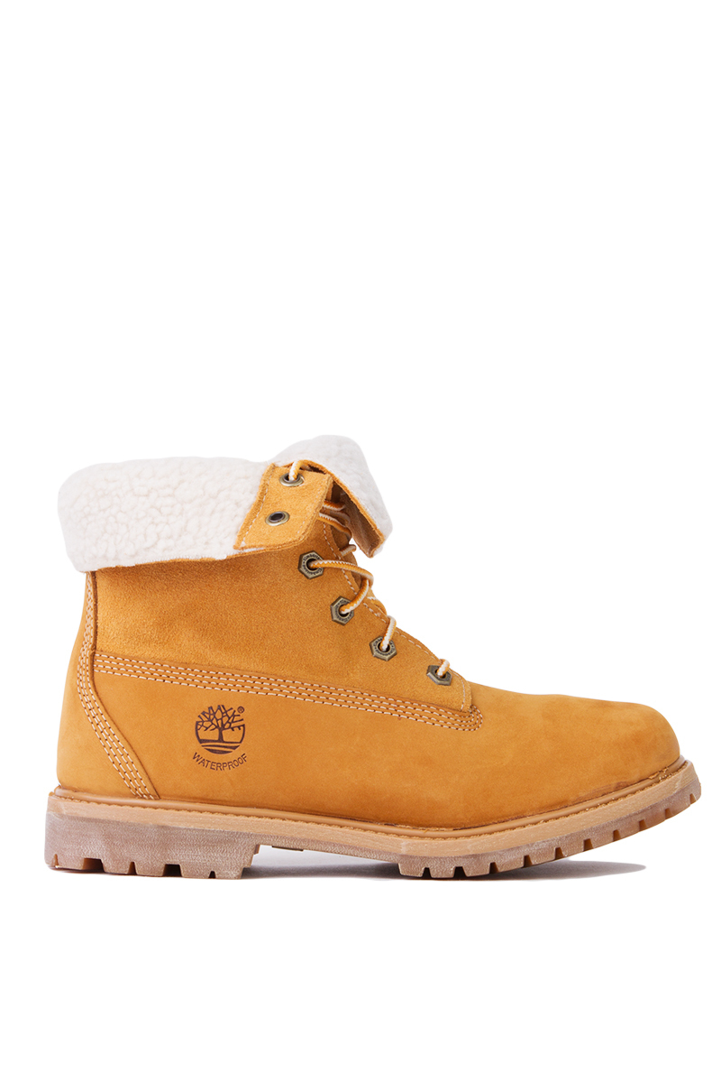 Timberland Authentic Teddy Fleece Fold Down Boots In Orange Lyst