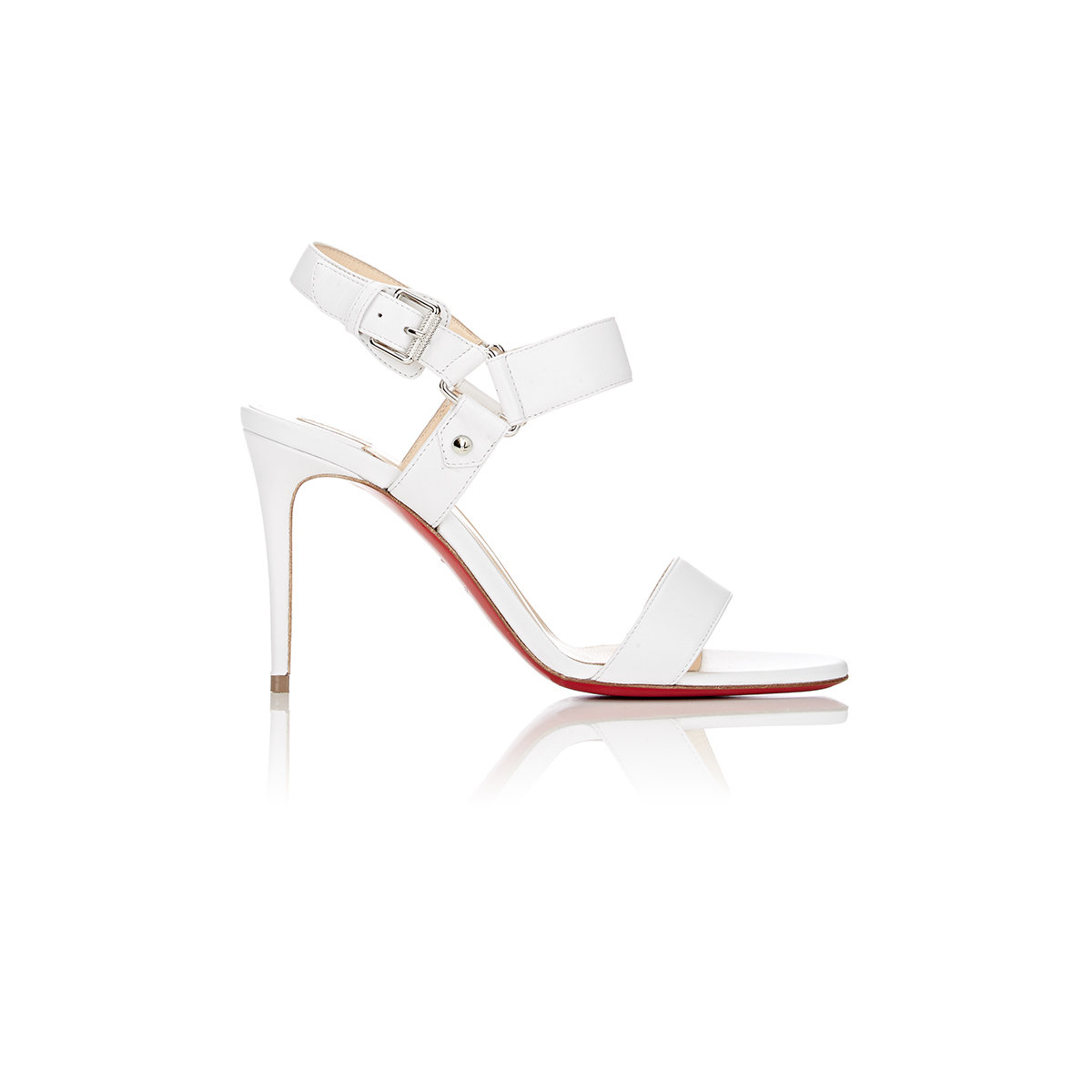 Christian louboutin Sova Buckled Leather Sandals in White   Lyst