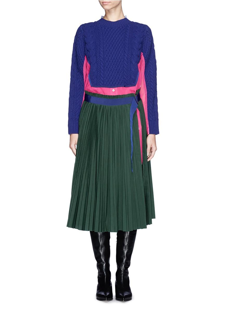 sacai wool sweater pleat skirt shirt dress lyst