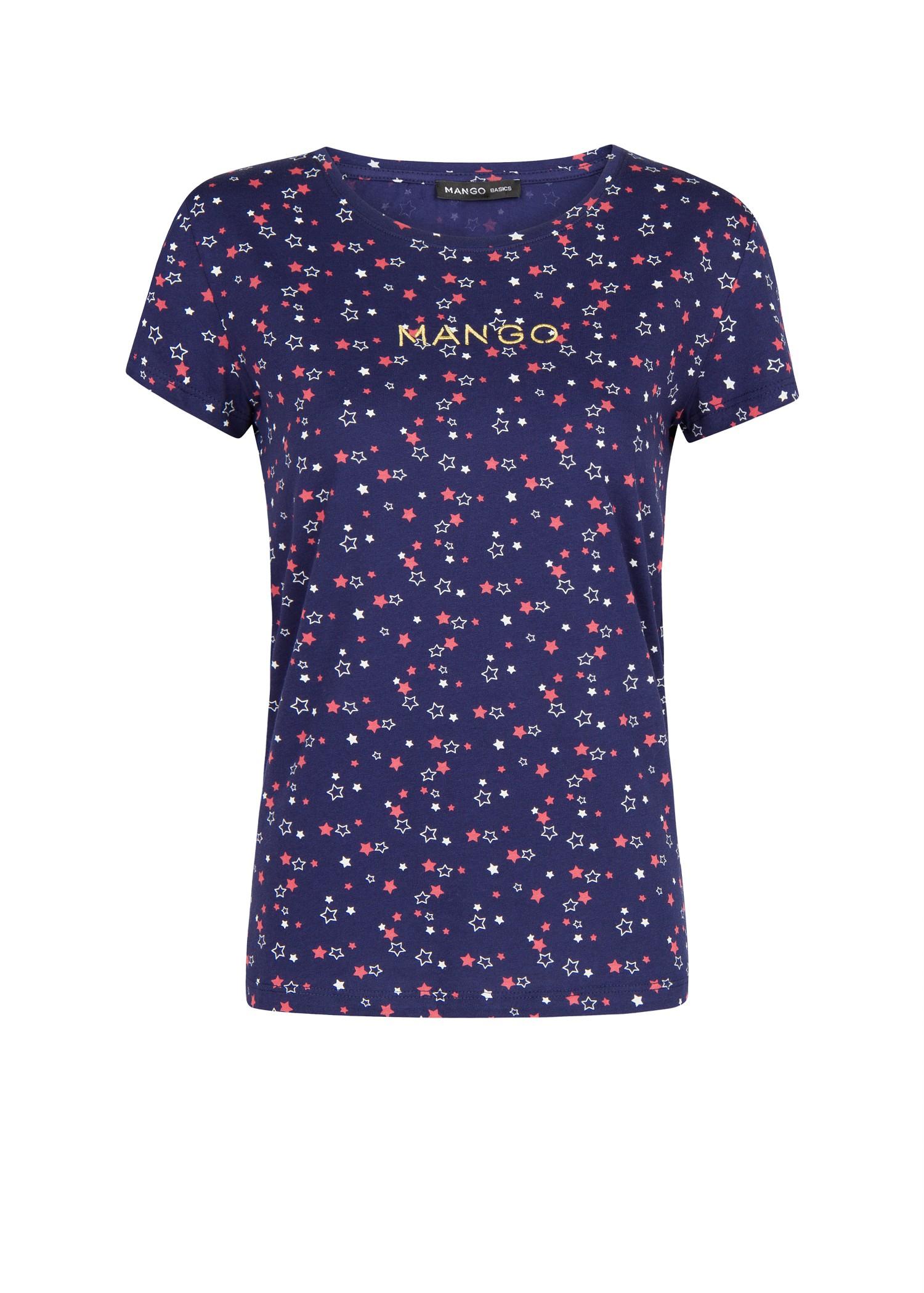 Lyst mango logo star tshirt in blue for Logo t shirt dress