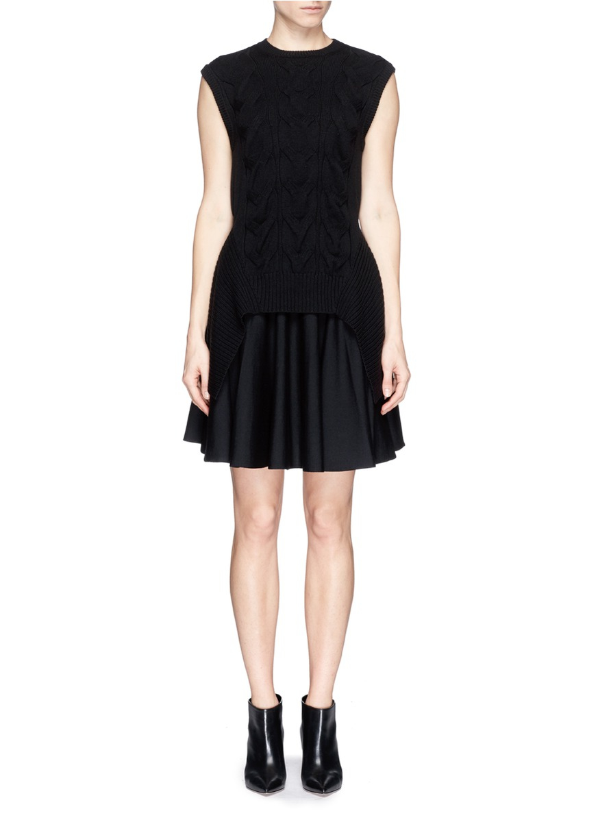 Alexander mcqueen Cable Knit Jersey Wool Vest Dress in ...