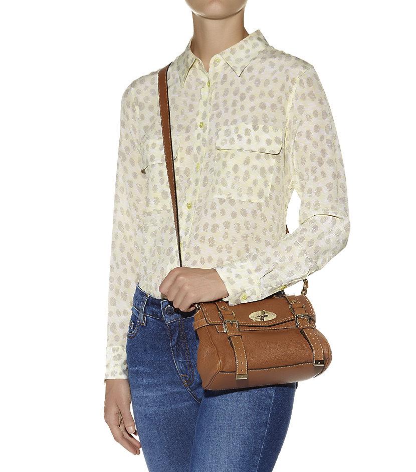 ... get mulberry mini alexa polished buffalo satchel in brown lyst 408d0  b6782 ... f98d955687483