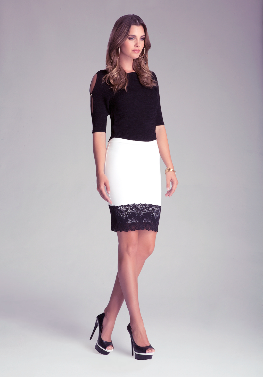 bebe lace trim pencil skirt in white lyst