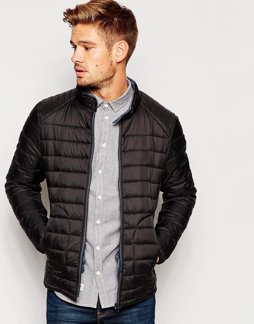 Blend Quilted Jacket Zipthru Nylon In Black For Men Lyst
