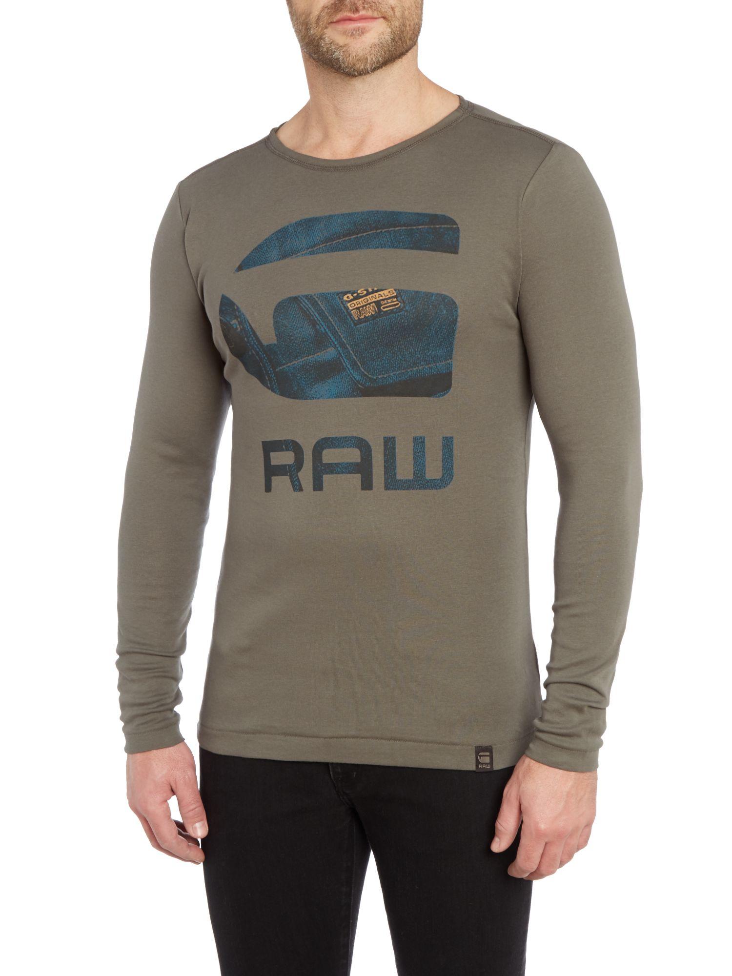 g star raw rinazat slim fit long sleeve logo t shirt in. Black Bedroom Furniture Sets. Home Design Ideas