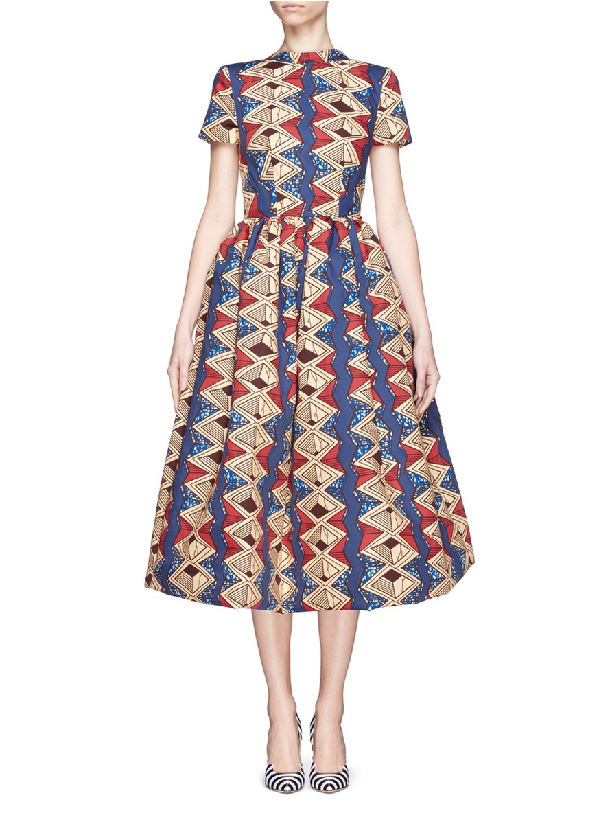 Stella Jean Bow Back Printed Dress Lyst