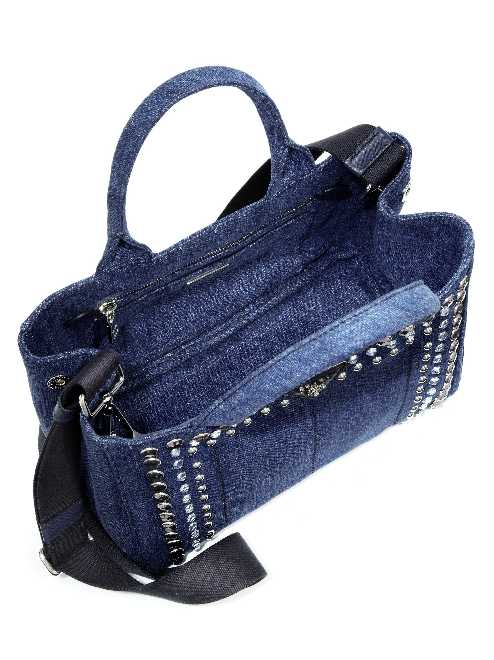 discount authentic prada bags - Prada Crystal-embellished Denim Tote in Blue (baltico-navy) | Lyst