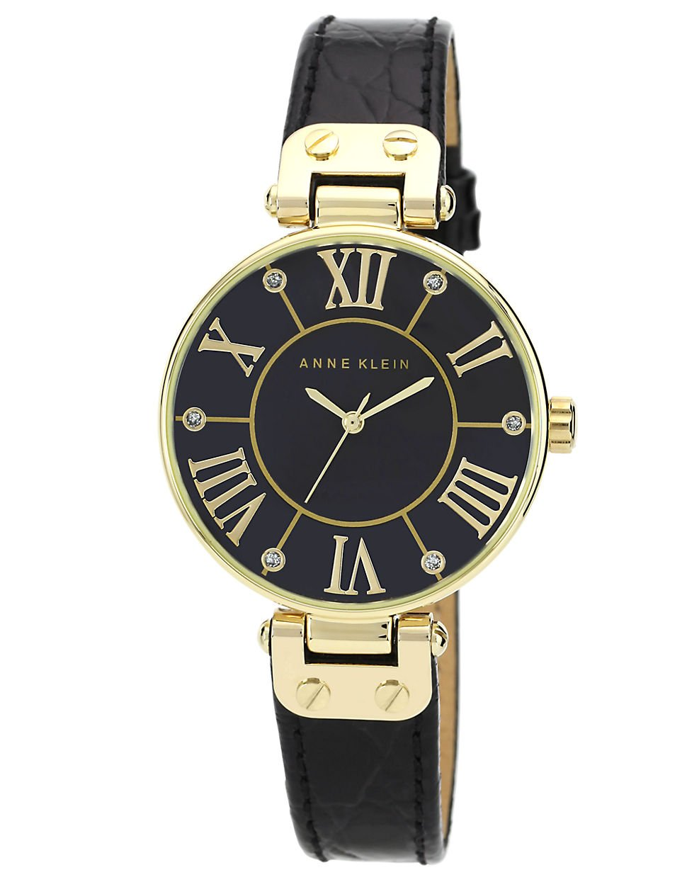 Anne klein ladies black and gold tone watch with genuine leather strap in gold black lyst for Anne klein leather strap