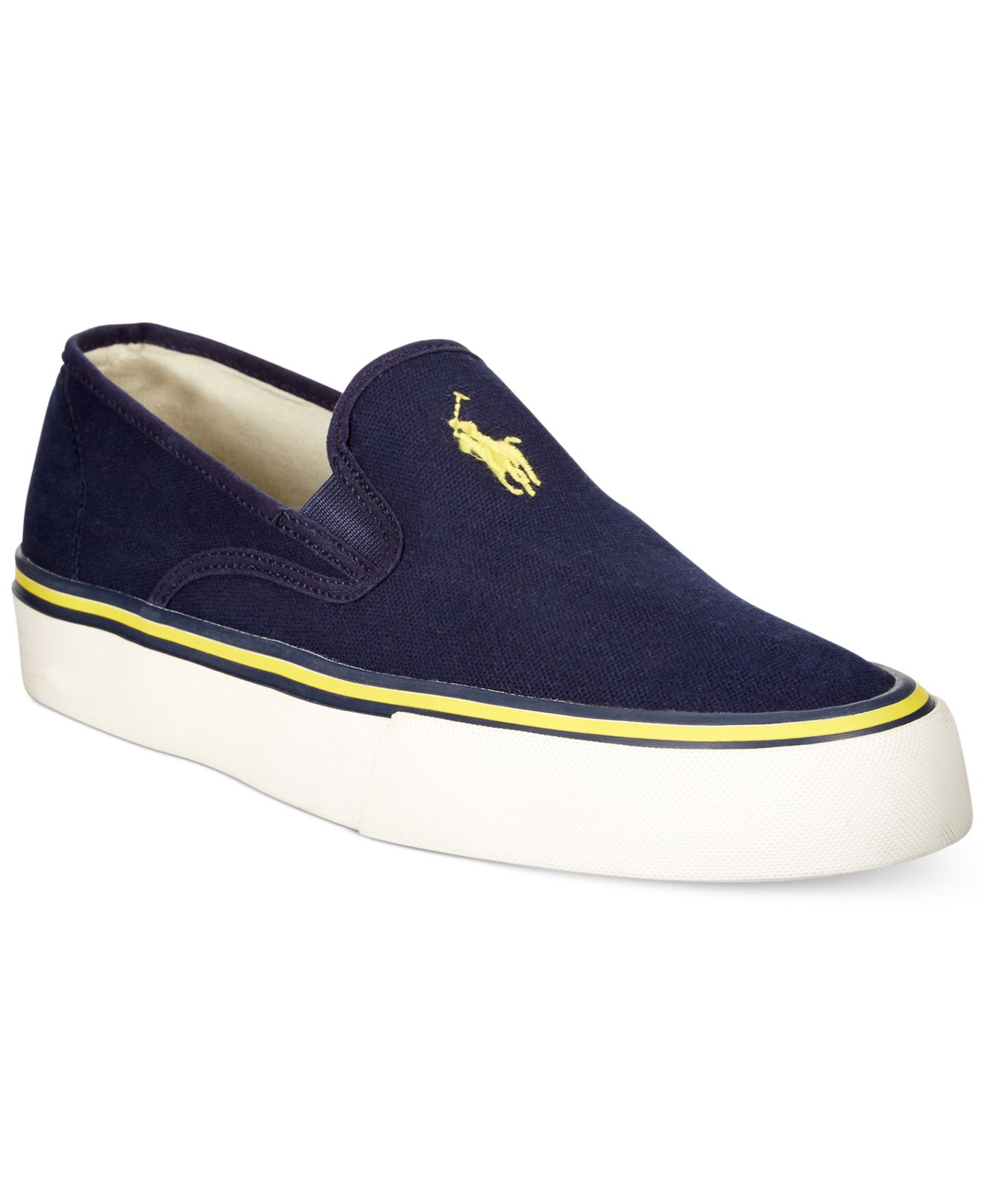 lyst polo ralph lauren mytton slip on sneakers in blue for men. Black Bedroom Furniture Sets. Home Design Ideas
