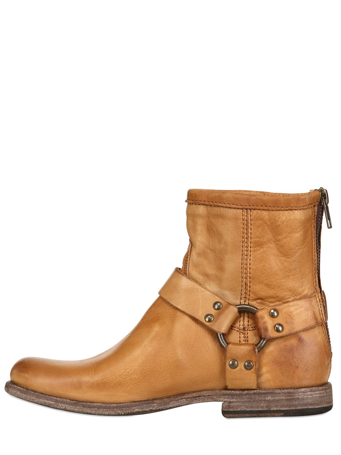 Lyst Frye Phillip Harness Leather Ankle Boots In Brown