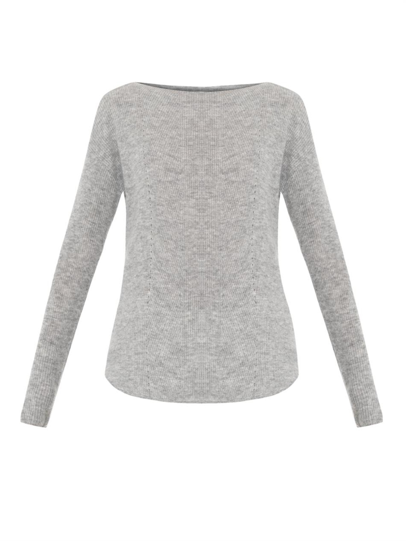 870a16d1a1 Vince Boat-Neck Cashmere Sweater in Gray - Lyst