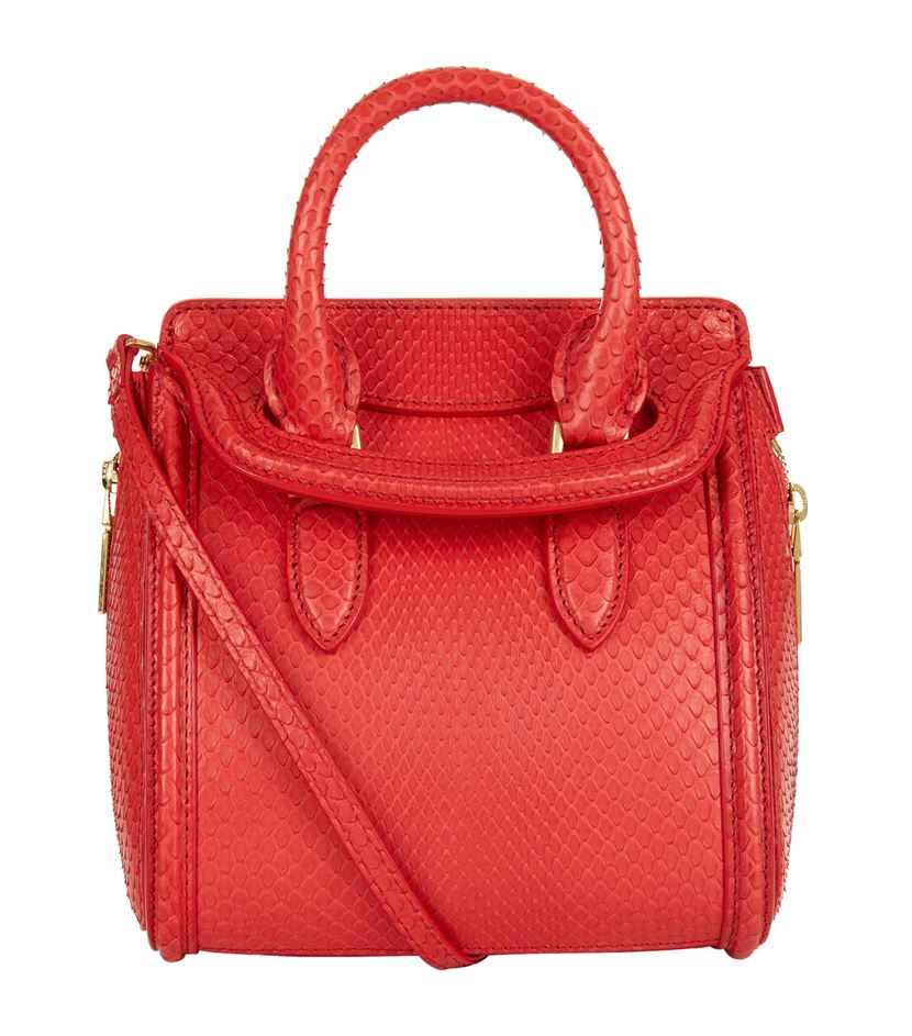 Alexander mcqueen Mini Python Heroine Bag in Red | Lyst