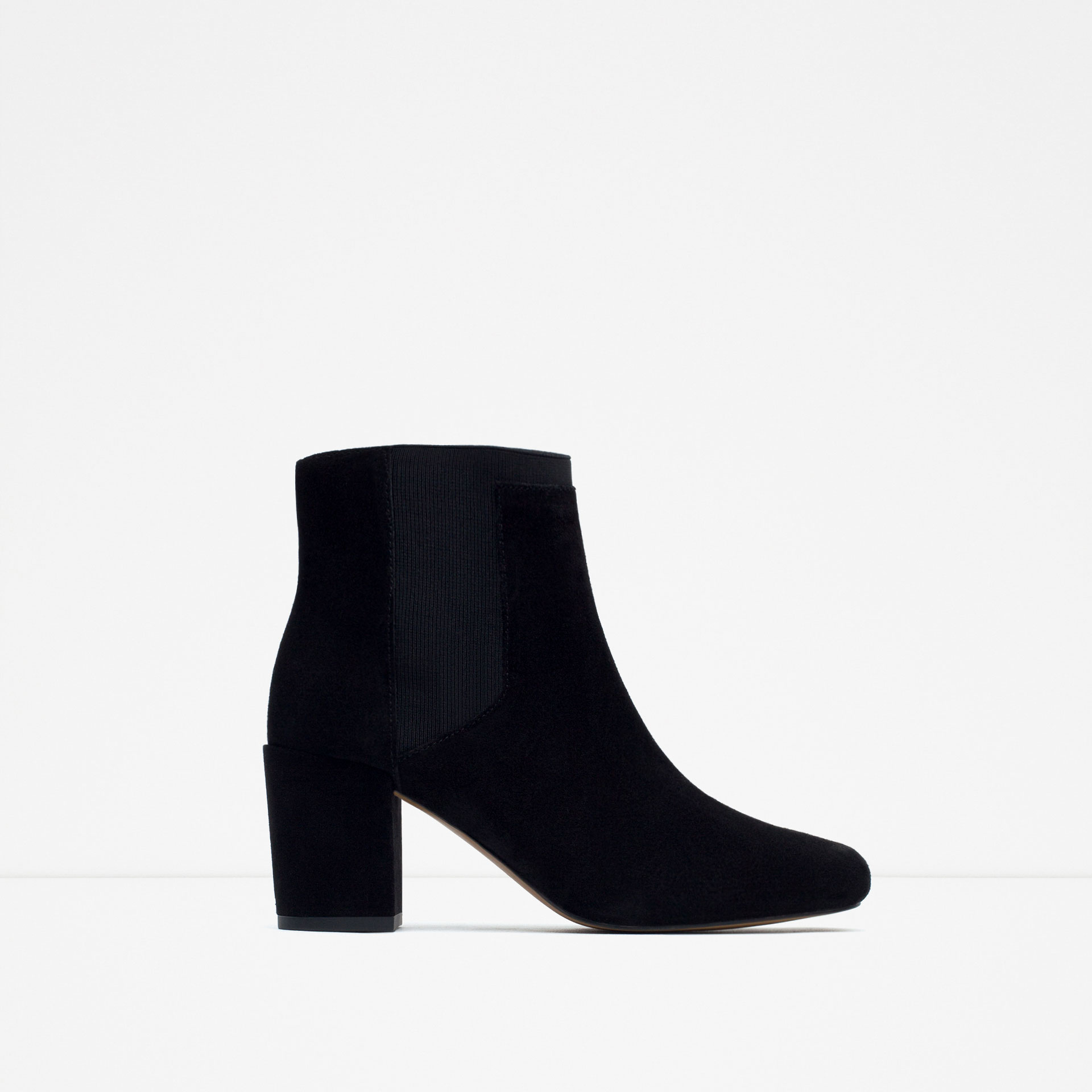 zara high heel ankle boots with elastic in black lyst