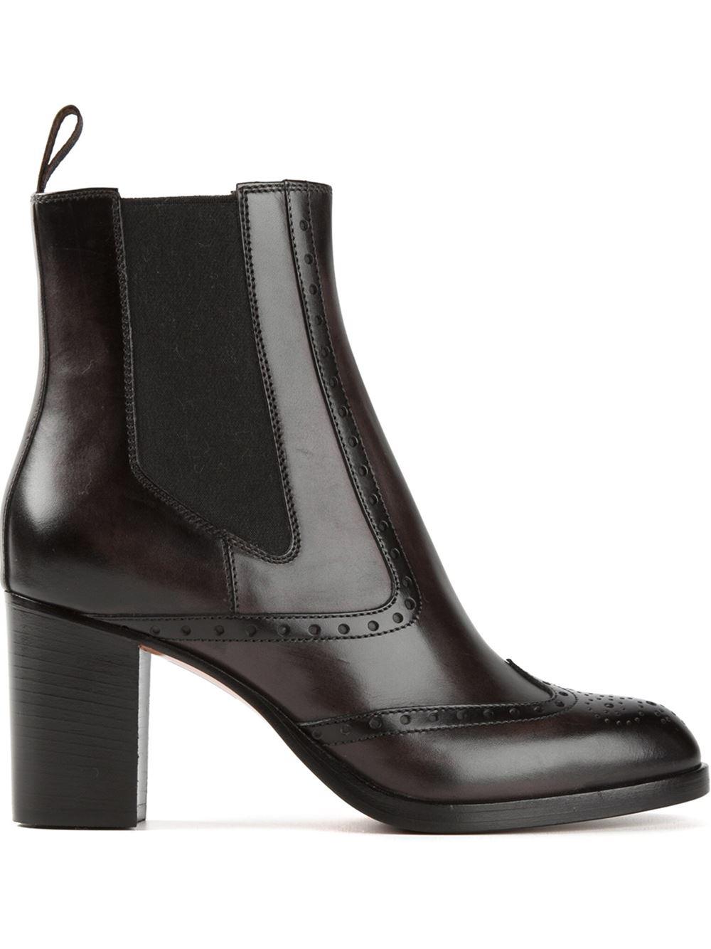 lyst santoni heeled chelsea boots in black. Black Bedroom Furniture Sets. Home Design Ideas