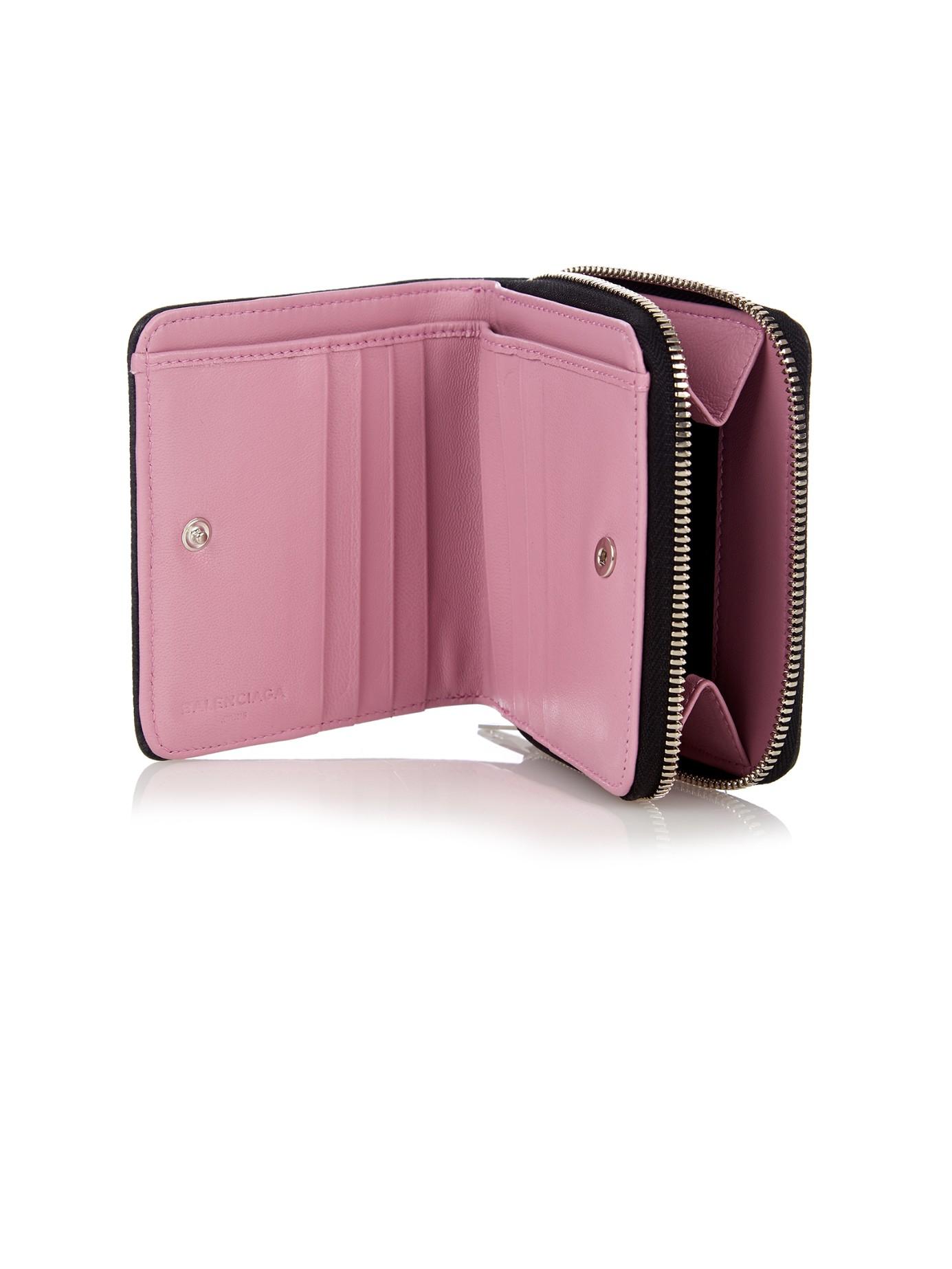 pink leather mini wallet Balenciaga poZg5fk