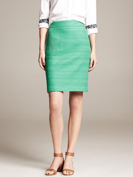 banana republic pencil skirt in green emerald green lyst