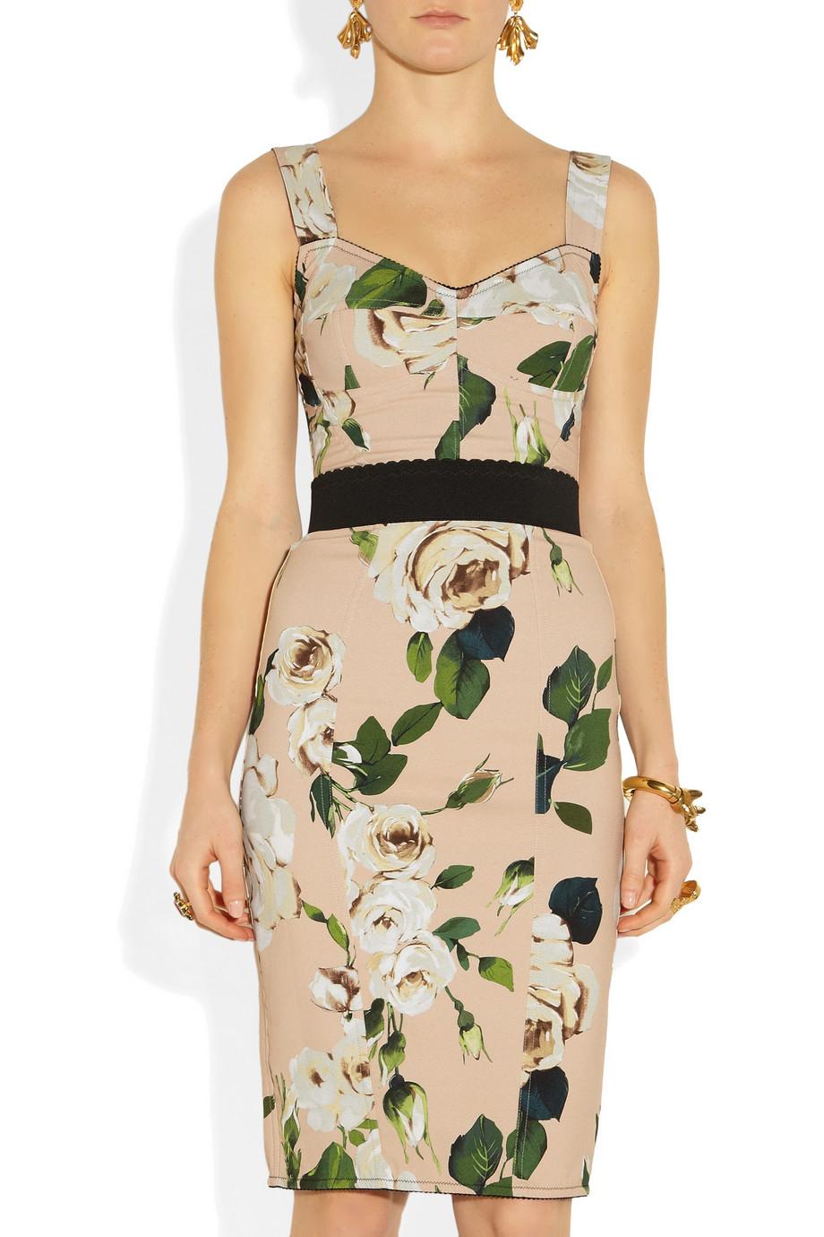 920 x 1380 www.lyst.com. Lyst - Dolce  amp  Gabbana Roseprint Crepe Bustier  Dress ... e8fa15bbf