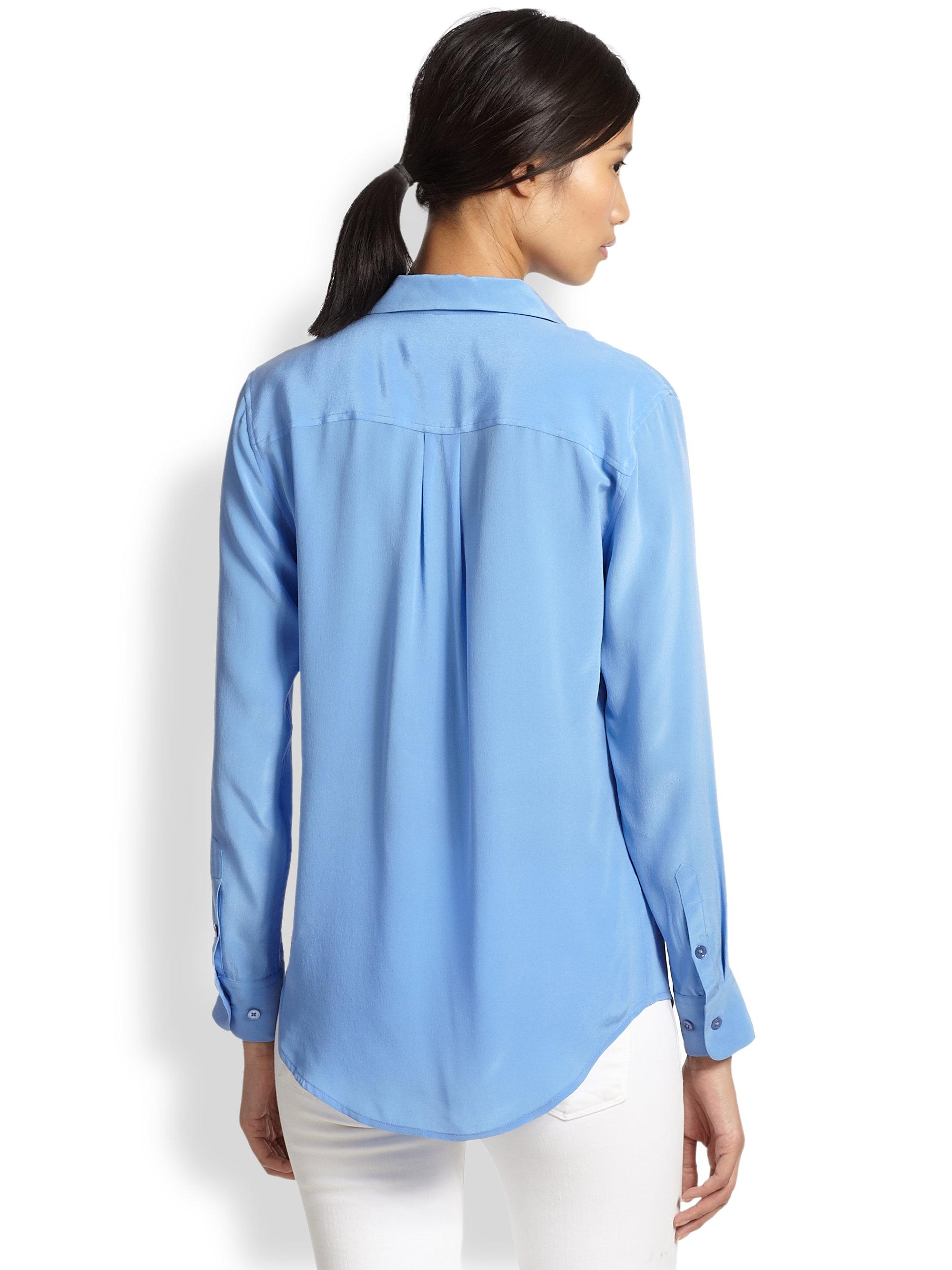 Equipment slim signature silk shirt in blue save 43 lyst for Equipment signature silk shirt