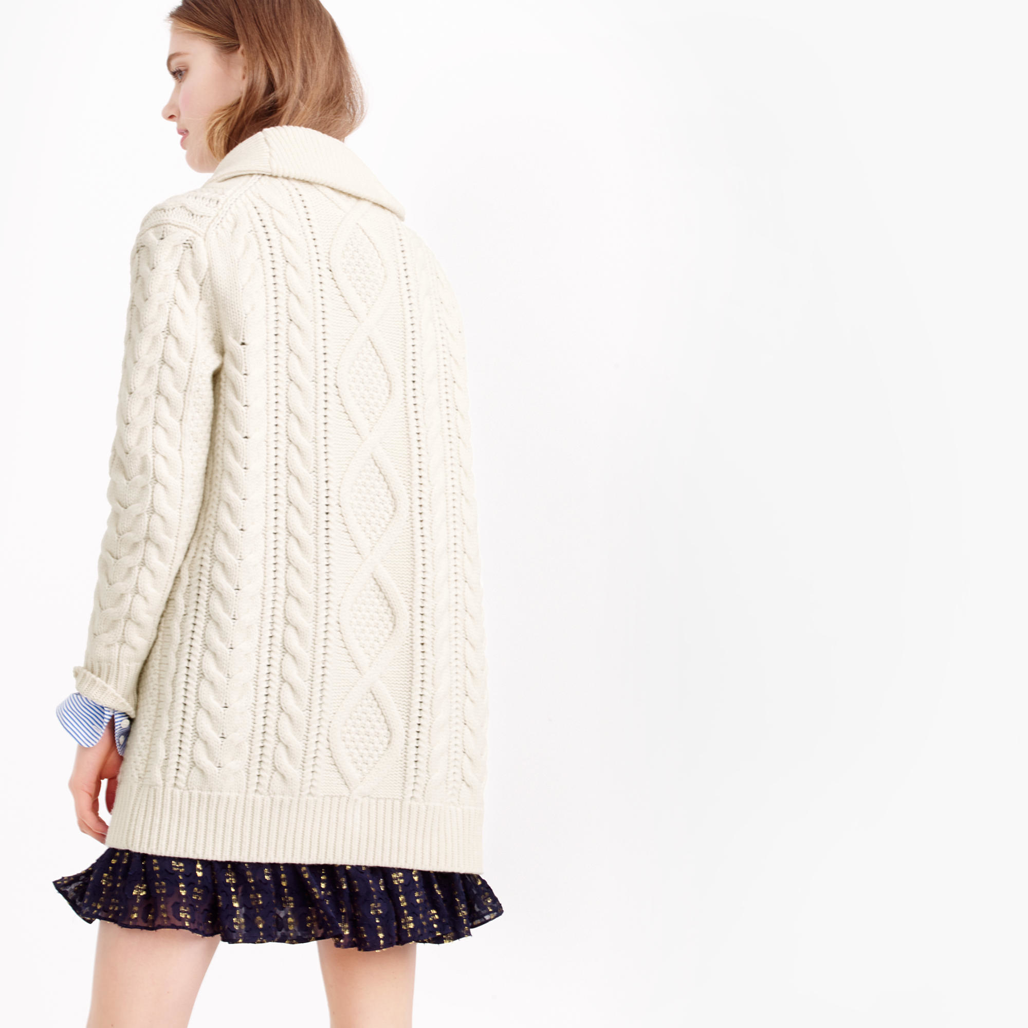 J.crew Shawl-collar Long Cable Cardigan Sweater in Natural   Lyst
