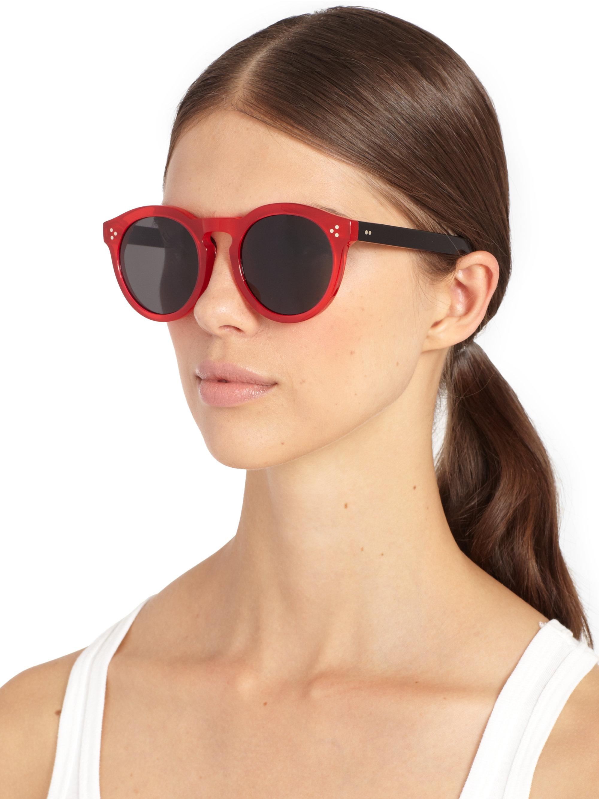 b0028378e5 Lyst - Illesteva Leonard Ii 53Mm Round Sunglasses in Red