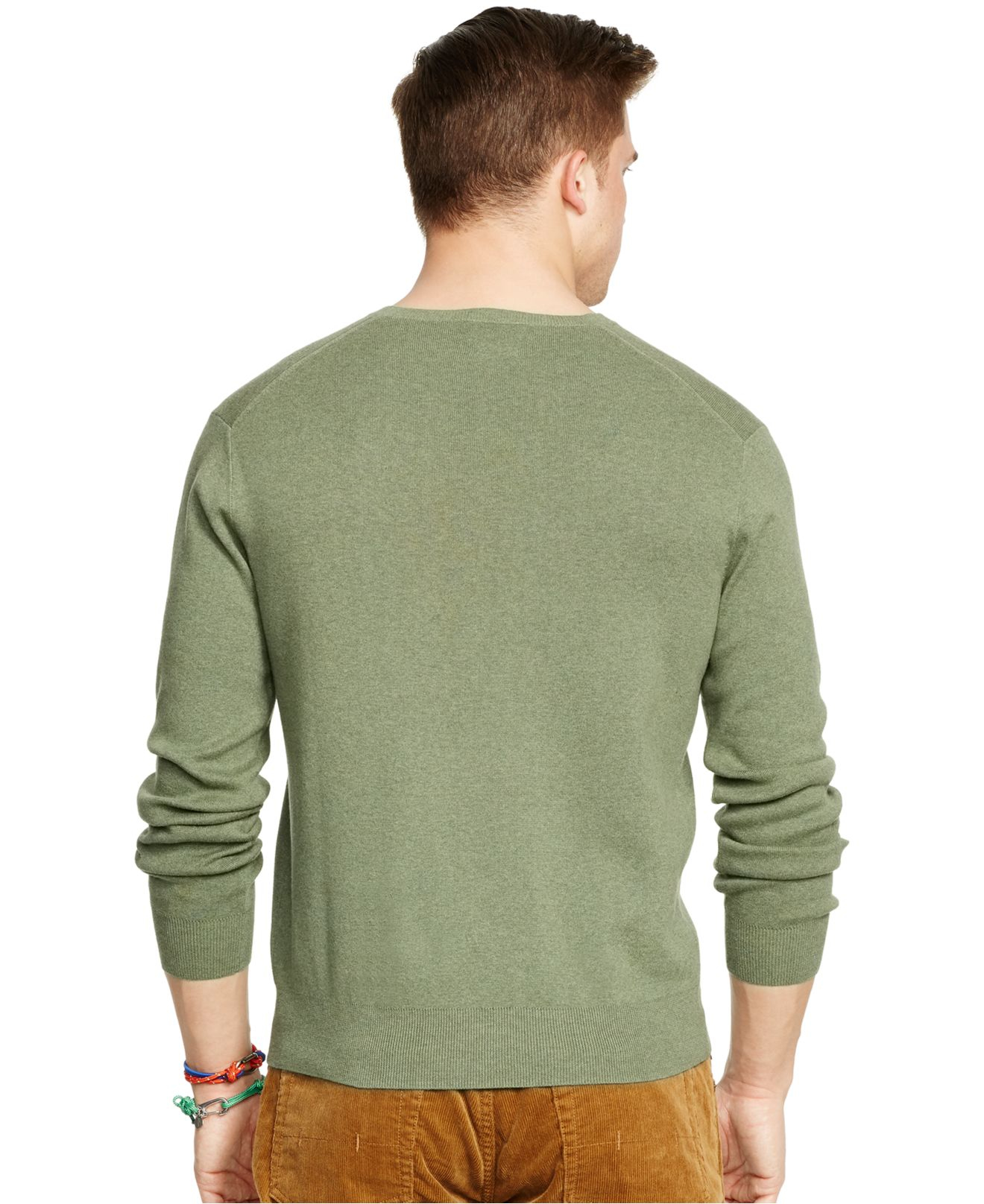 polo ralph lauren pima v neck sweater in green for men lovvete heather lyst. Black Bedroom Furniture Sets. Home Design Ideas