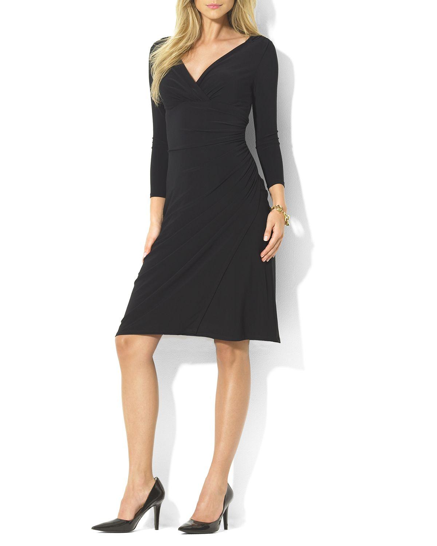 Lyst Ralph Lauren Lauren Dress V Neck Jersey In Black