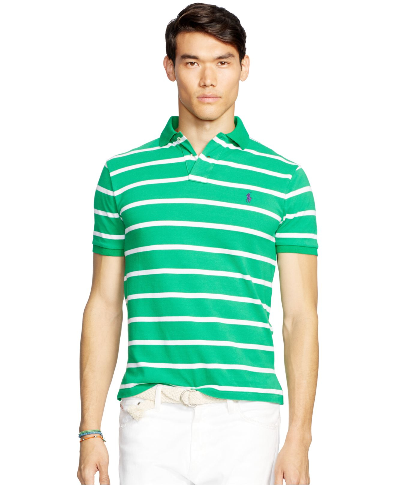 Polo ralph lauren men 39 s classic fit striped mesh polo Man in polo shirt