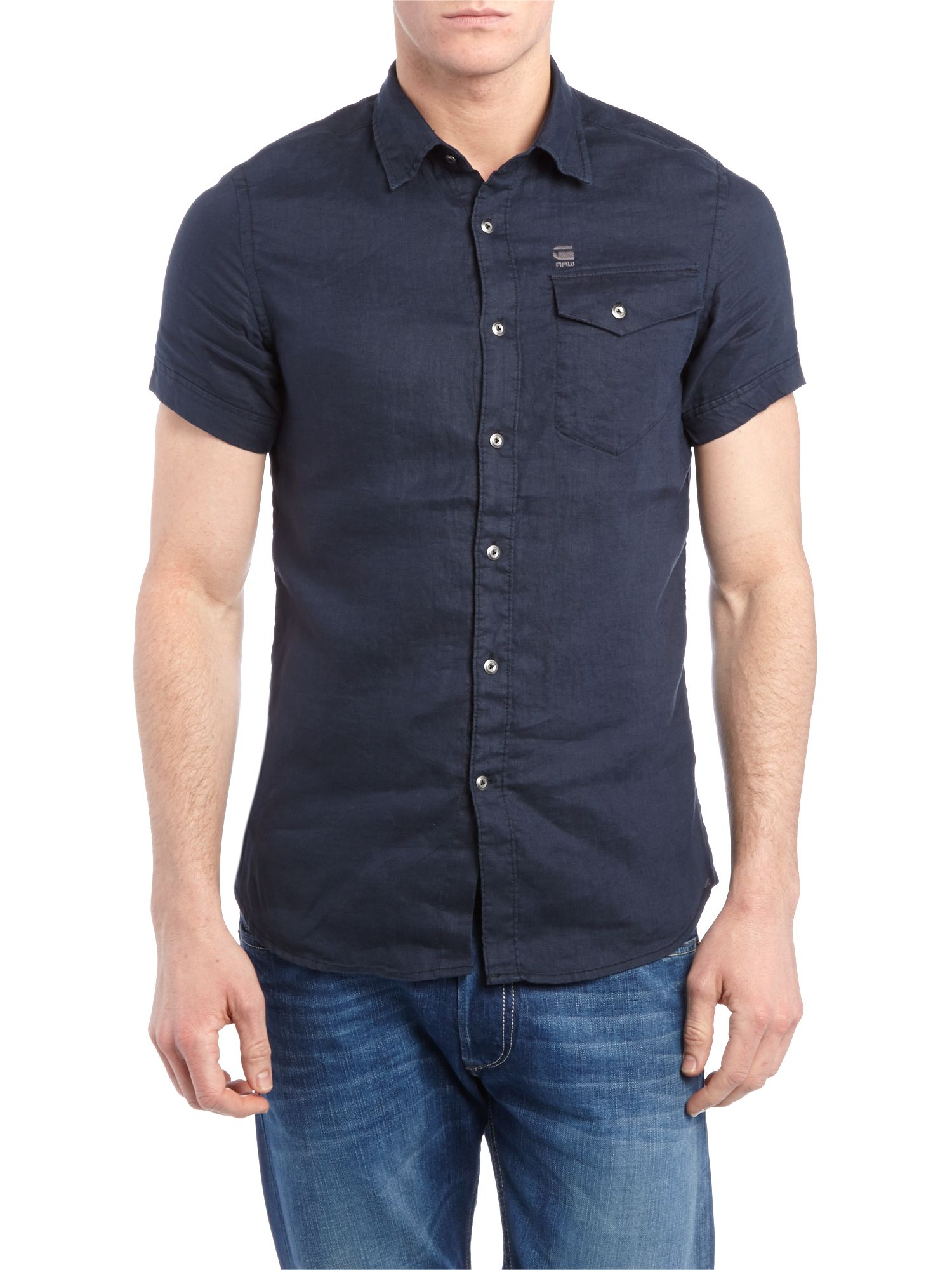 G star raw short sleeve two pocket shirt in blue for men for Mens two pocket short sleeve shirts