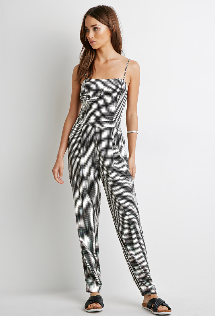 303a6537db5a Lyst - Forever 21 Grid Print Jumpsuit in Black