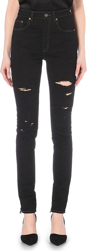 b0bf2e47fa9 Saint Laurent Distressed Skinny High-rise Jeans in Black - Lyst