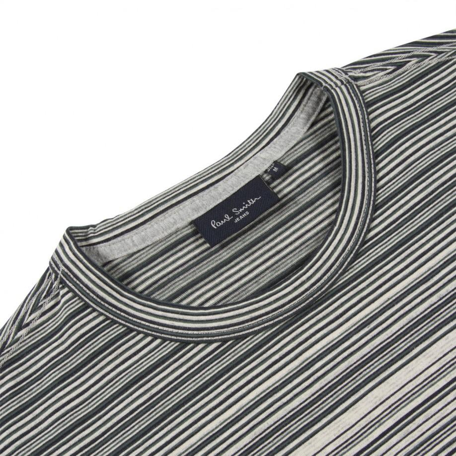 Paul smith grey marl stripe panel t shirt in gray for men for Grey striped t shirt