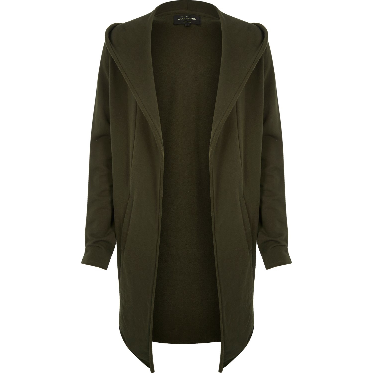 River island Khaki Longline Waterfall Hooded Cardigan in Natural ...