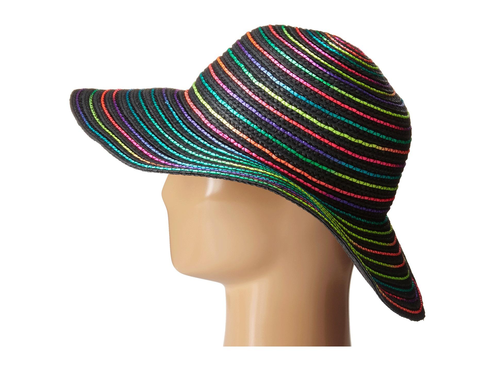 d8d98721ebd Lyst - Betsey Johnson Rainbow Swirl Floppy Hat in Gray