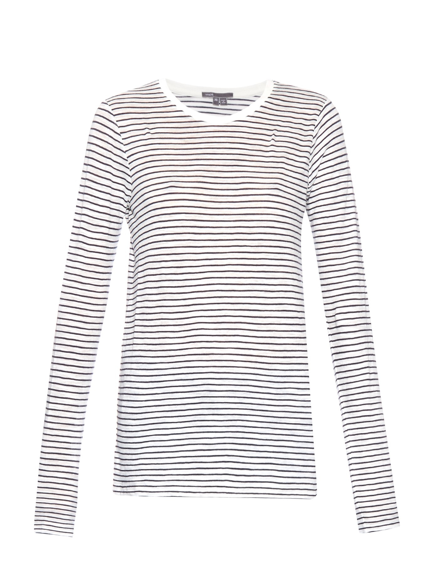 Vince Striped Long-sleeved Cotton Top in White | Lyst