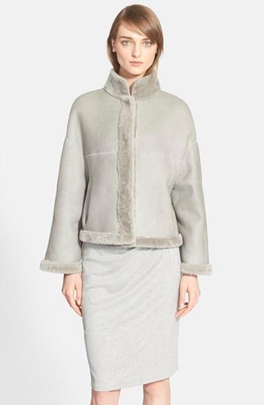 Max mara 'Albata' Reversible Genuine Shearling Coat in Gray | Lyst