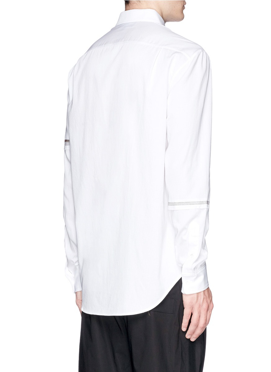 3 1 Phillip Lim Sleeve Embroidery Cotton Shirt In White