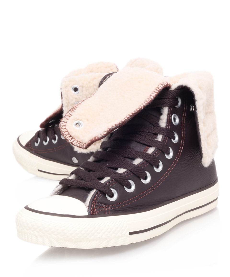 271530e4798479 Lyst - Converse Brown Chuck Taylor Knee Hi Shearling Trainers in Brown
