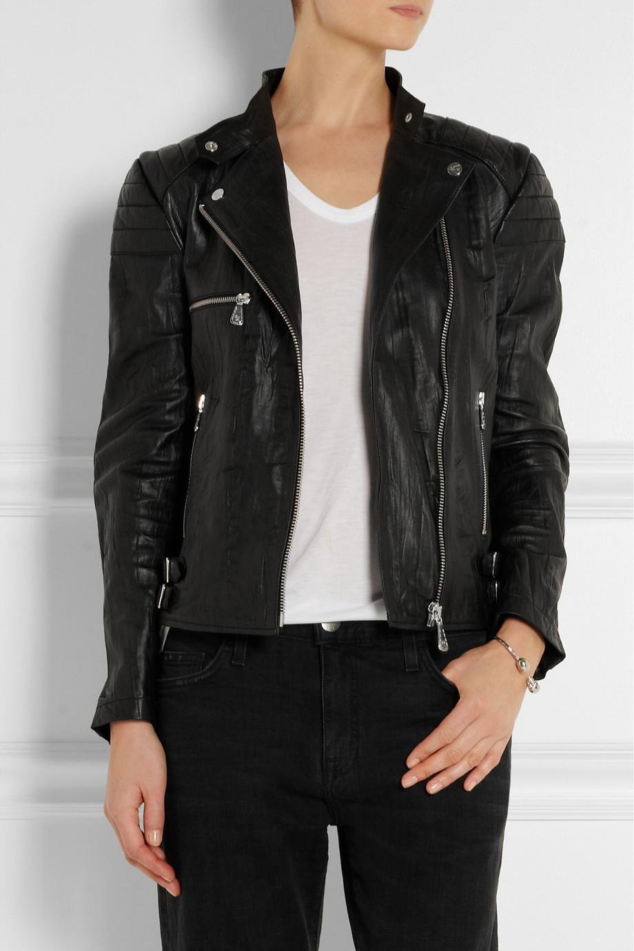 333068c59dfab McQ Crinkled-leather Biker Jacket in Black - Lyst