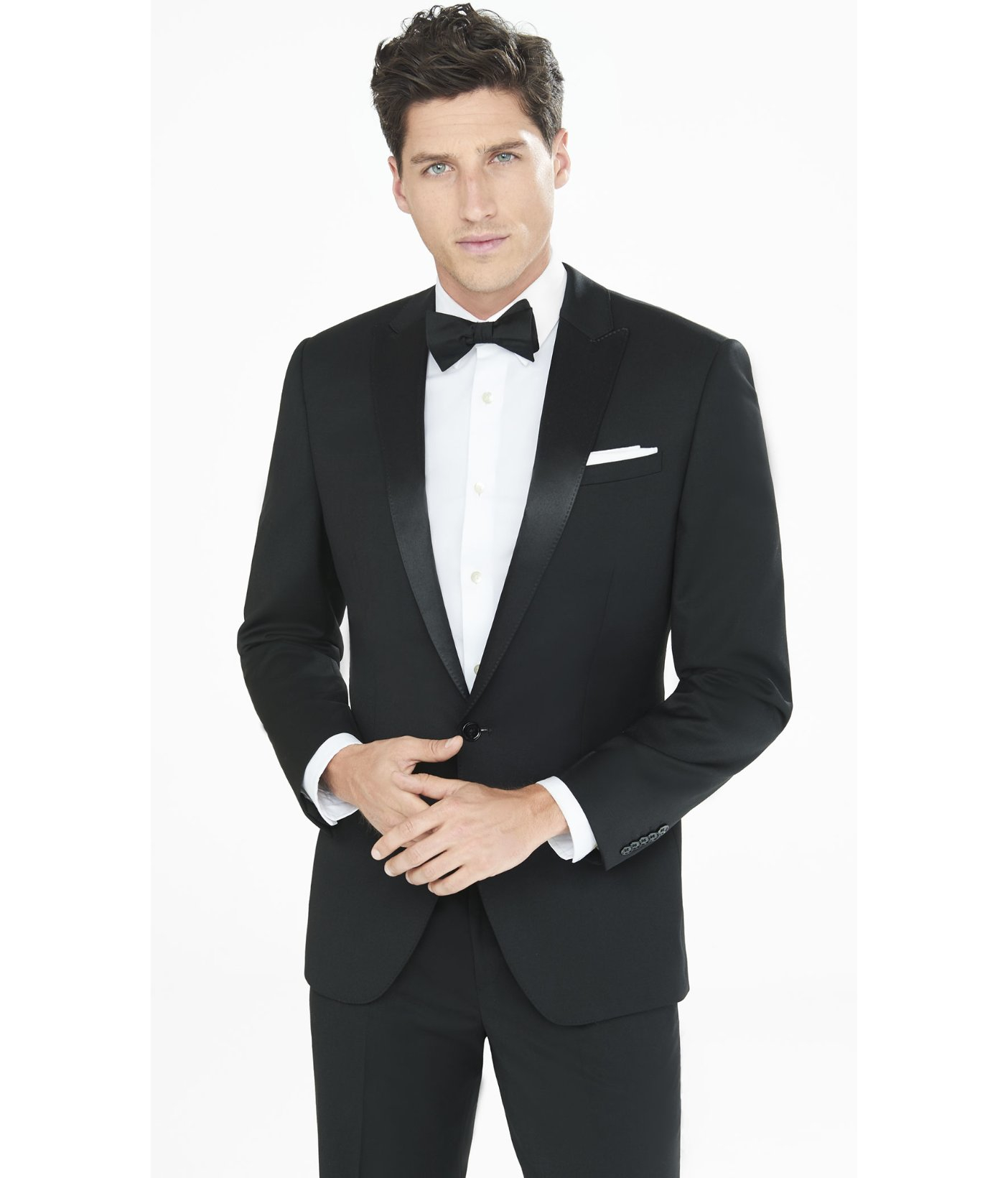 Your dinner jacket can be worn with a dress shirt, high waisted black pants and.