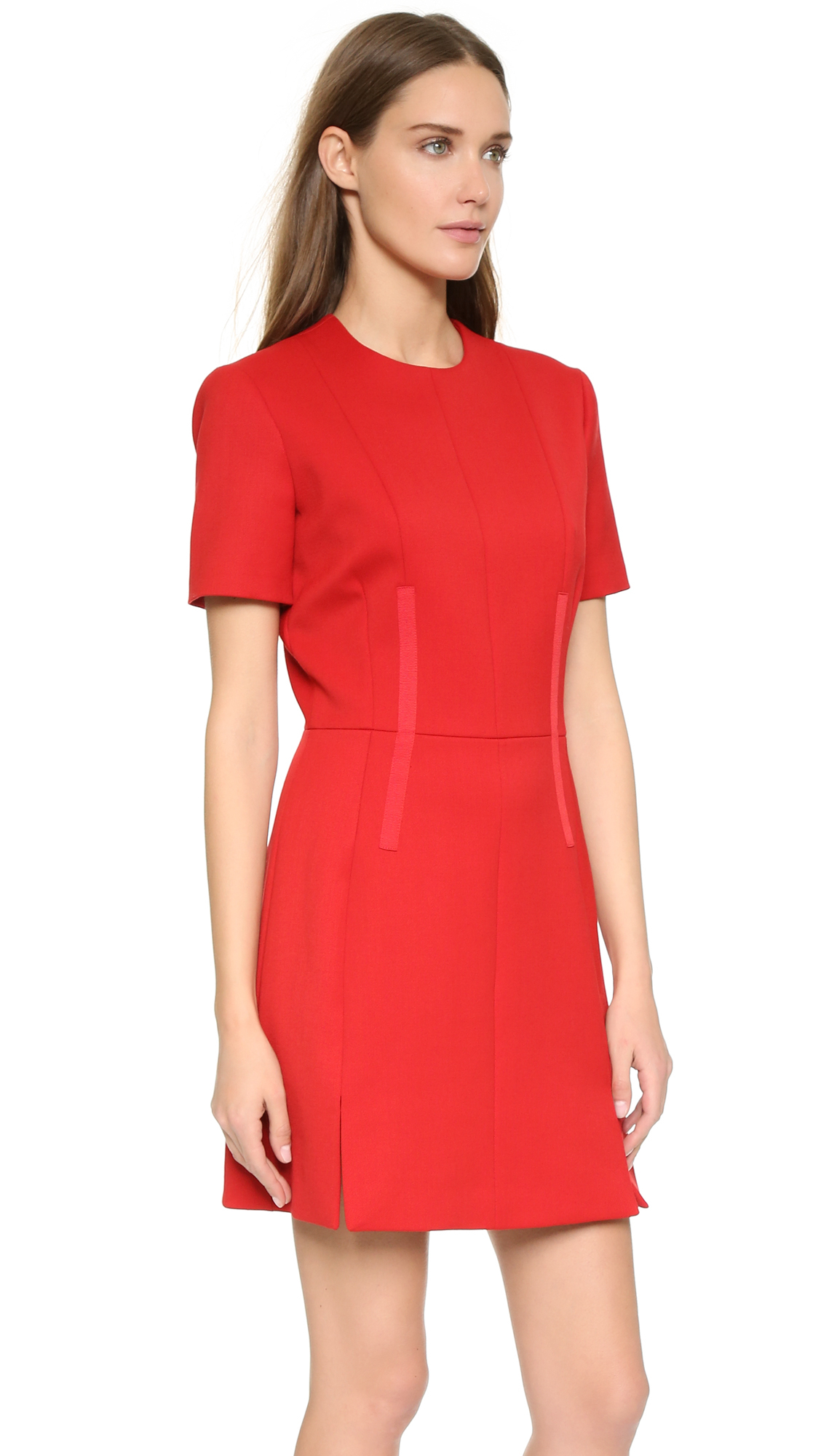 Carven Short Sleeve Dress - Rouge in Red - Lyst