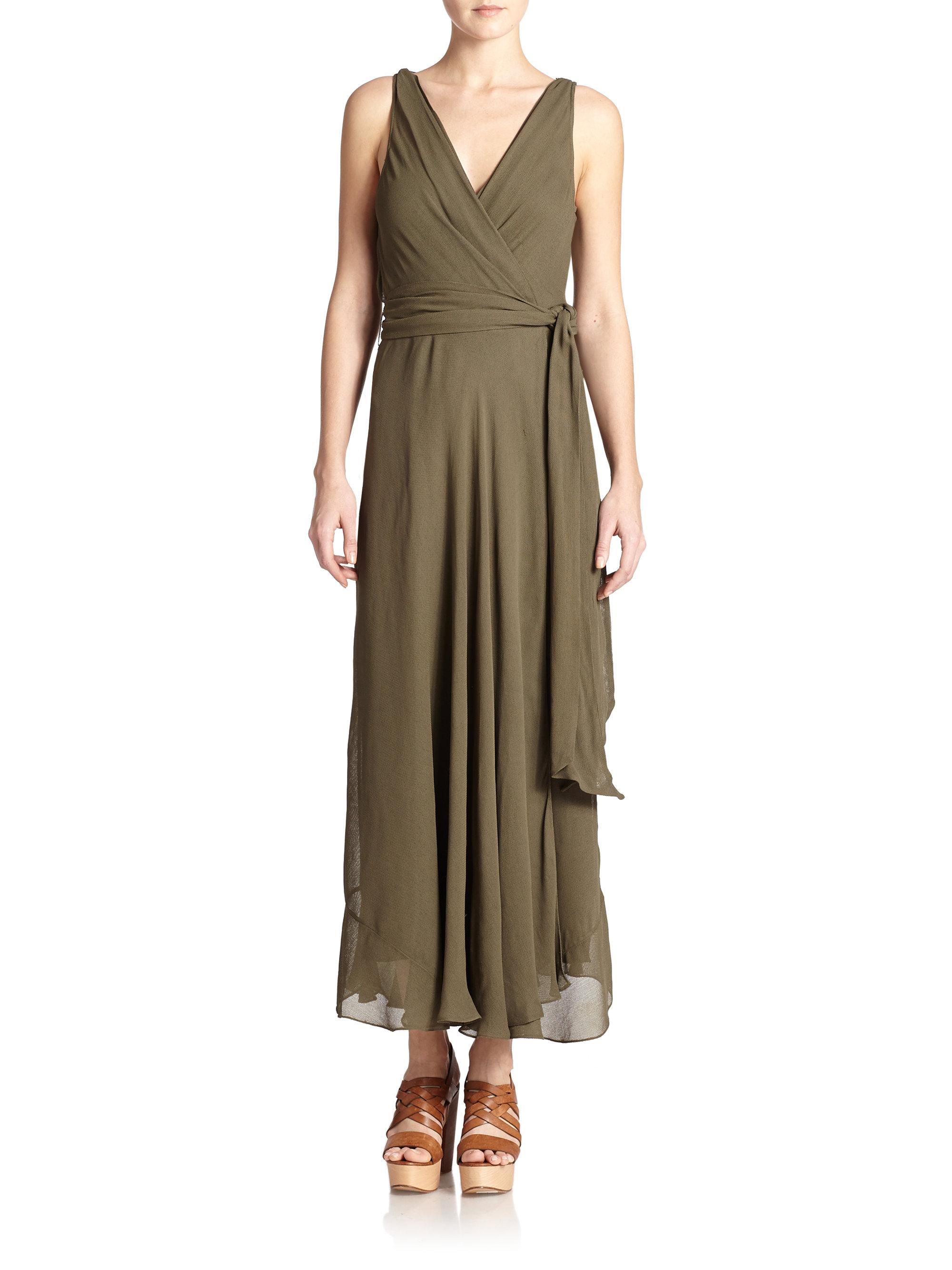Polo Ralph Lauren Sleeveless Wrap Maxi Dress In Green Lyst