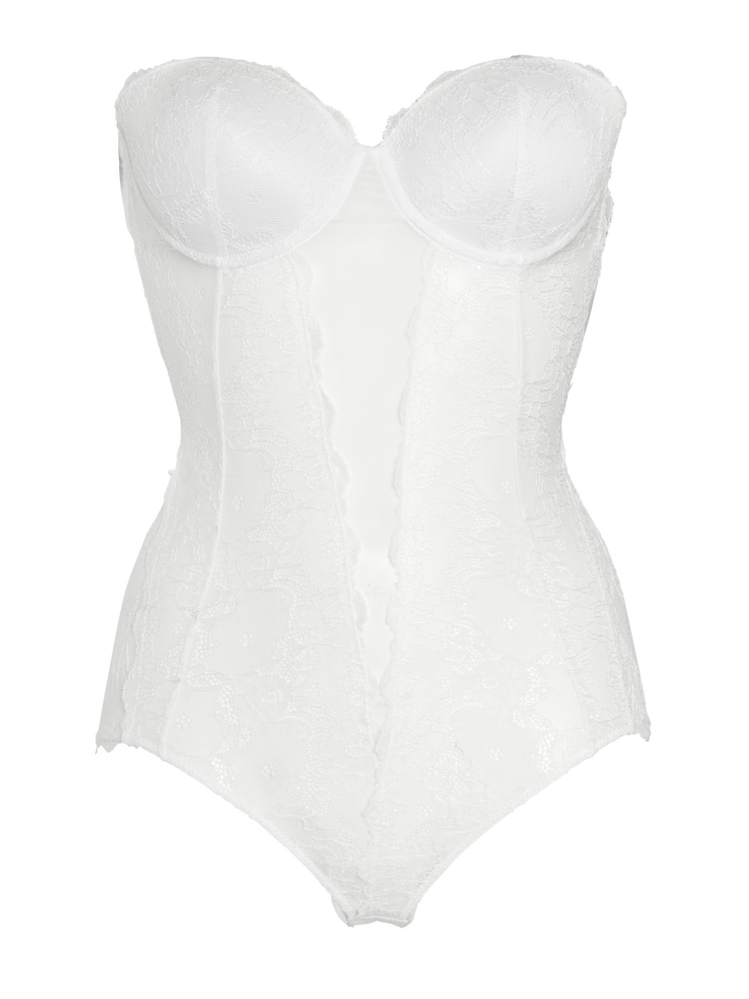 Lyst Fashion Forms Lace Strapless Bodysuit In White