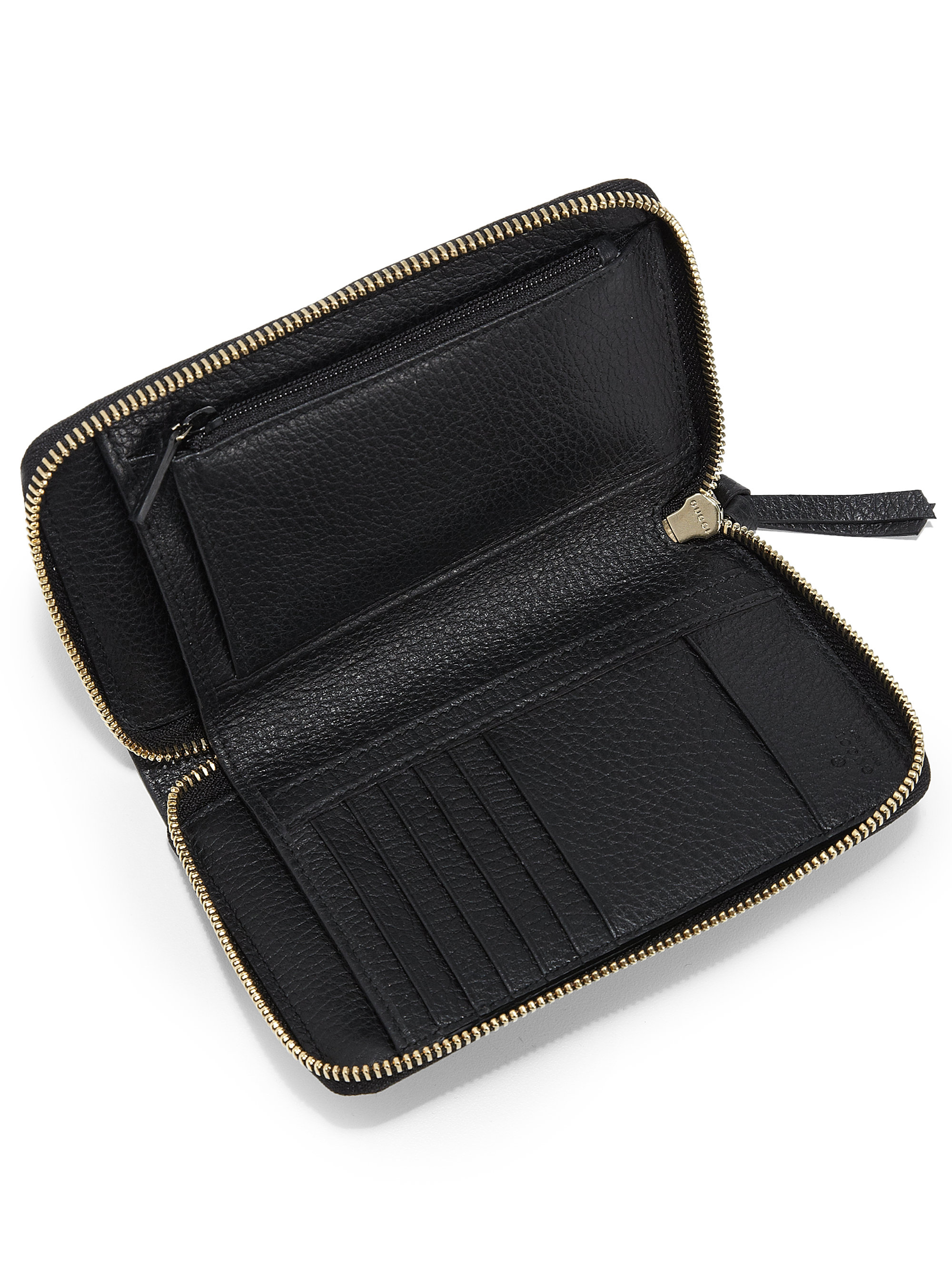 638bdb3cecebd Lyst - Gucci Swing Leather Zip-around Wallet in Black